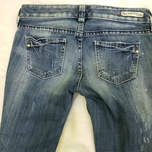 Express Jeans - Express Distressed Textured Skinny Denim Jeans 2R